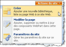 Menu Actions du site