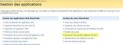 Interface de gestion des applications