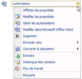 Menu pour les documents