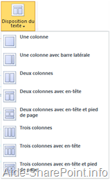 Disposition du texte en SharePoint 2010