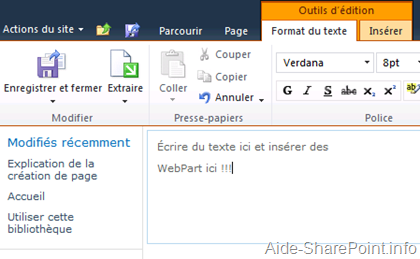 Nouvelle page dans SharePoint 2010
