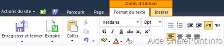 Barre d'outils - format du texte