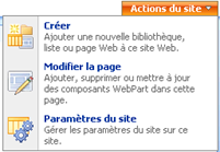 Menu - Action du site