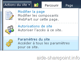 Action du site - SharePoint 2010
