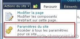 Action du site > Paramètre du site
